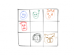 filled-in version of the check in grid