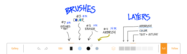 Screen shot showing brush layout