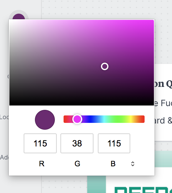 Milanote's color picker